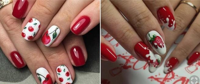 Красный маникюр с ягодами