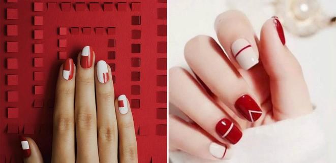 Красный маникюр в стиле минимализма